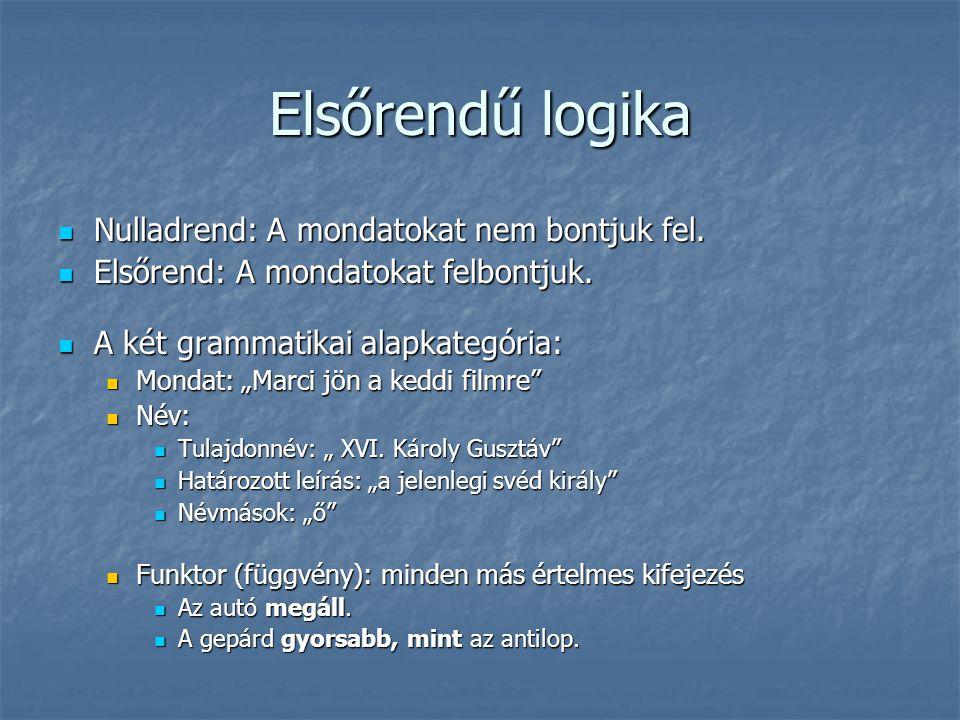 """Elsőrendű logika  Nulladrend: A mondatokat nem bontjuk fel.  Elsőrend: A mondatokat felbontjuk.  A két grammatikai alapkategória:  Mondat: """"Marci"""