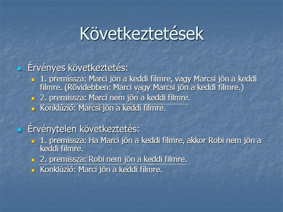 Következményreláció Érvényes következtetés:  1.premissza: Marci vagy Marcsi jön a keddi filmre.