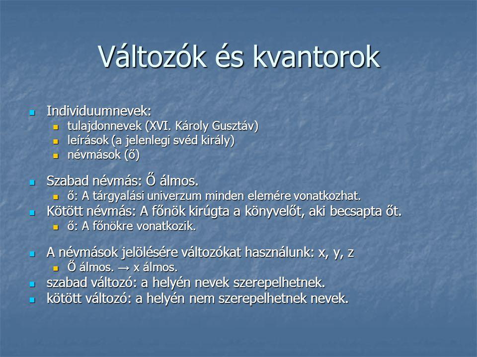 Változók és kvantorok  Individuumnevek:  tulajdonnevek (XVI. Károly Gusztáv)  leírások (a jelenlegi svéd király)  névmások (ő)  Szabad névmás: Ő