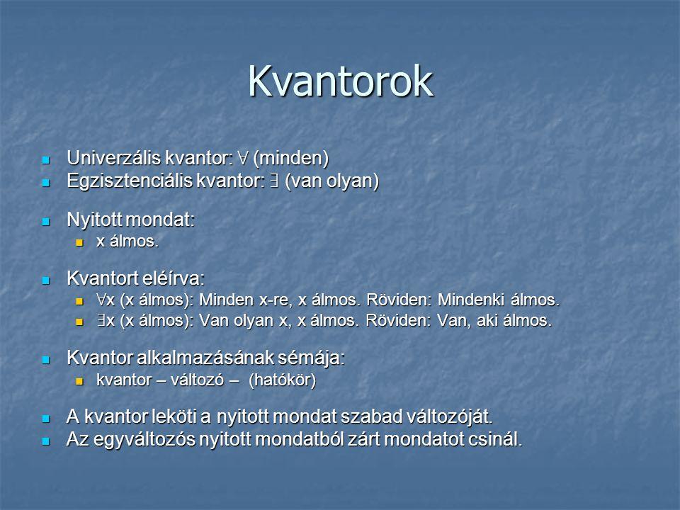 Kvantorok  Univerzális kvantor: ∀ (minden)  Egzisztenciális kvantor: ∃ (van olyan)  Nyitott mondat:  x álmos.  Kvantort eléírva:  ∀ x (x álmos):