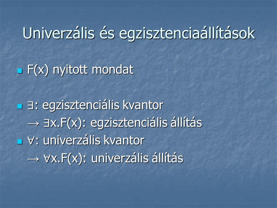 Univerzális és egzisztenciaállítások  F(x) nyitott mondat  ∃ : egzisztenciális kvantor → ∃ x.F(x): egzisztenciális állítás  ∀ : univerzális kvantor