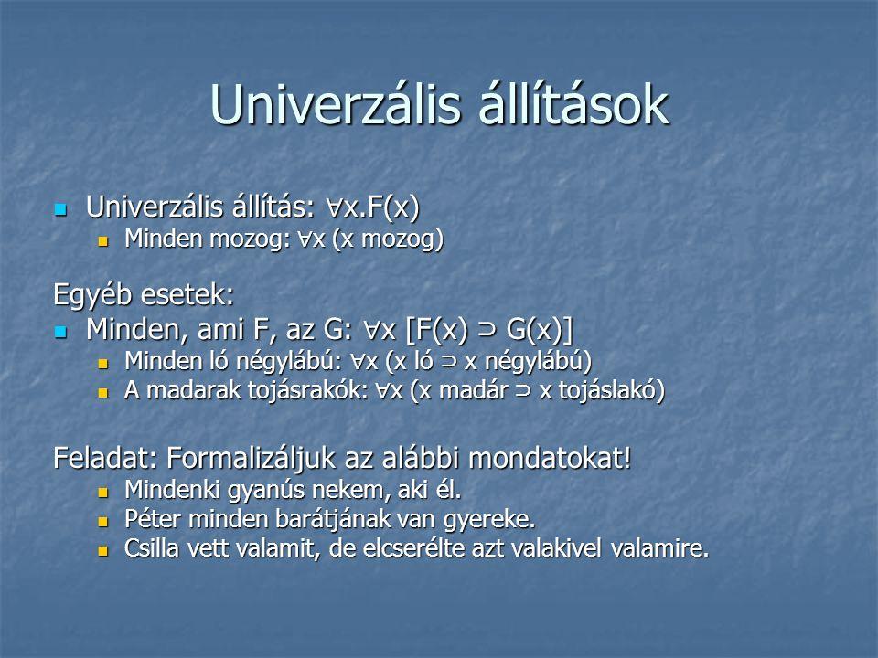 Univerzális állítások  Univerzális állítás: ∀ x.F(x)  Minden mozog: ∀ x (x mozog) Egyéb esetek:  Minden, ami F, az G: ∀ x [F(x) ⊃ G(x)]  Minden ló