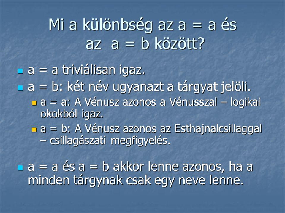 Mi a különbség az a = a és az a = b között?  a = a triviálisan igaz.  a = b: két név ugyanazt a tárgyat jelöli.  a = a: A Vénusz azonos a Vénusszal