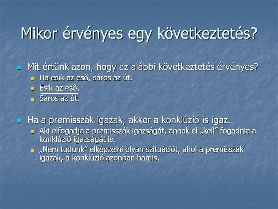 Kategorikus állítások  Kategorikus állítások (Arisztotelész, Organon):  Általános állító (affirmo): ∀ x(F ⊃ G)  Részleges állító (affirmo): ∃ x(F & G)  Általános tagadó (nego): ∀ x(F ⊃ ~G)  Részleges tagadó (nego): ∃ x(F & ~G)  Terminológia:  F: szubjektum  G: predikátum