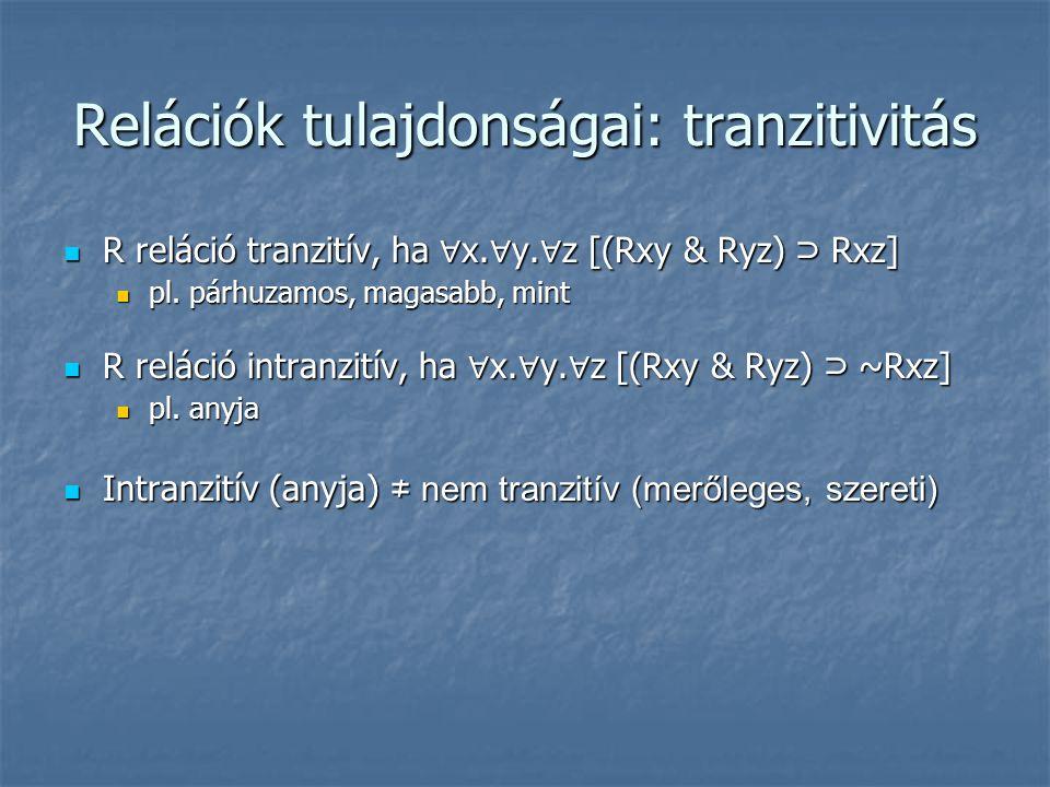 Relációk tulajdonságai: tranzitivitás  R reláció tranzitív, ha ∀ x. ∀ y. ∀ z [(Rxy & Ryz) ⊃ Rxz]  pl. párhuzamos, magasabb, mint  R reláció intranz