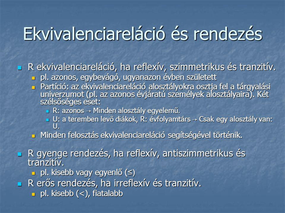 Ekvivalenciareláció és rendezés  R ekvivalenciareláció, ha reflexív, szimmetrikus és tranzitív.  pl. azonos, egybevágó, ugyanazon évben született 