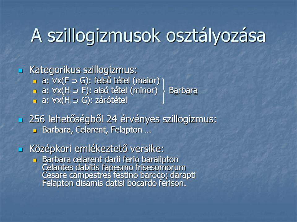 A szillogizmusok osztályozása  Kategorikus szillogizmus:  a: ∀ x(F ⊃ G): felső tétel (maior)  a: ∀ x(H ⊃ F): alsó tétel (minor) Barbara  a: ∀ x(H
