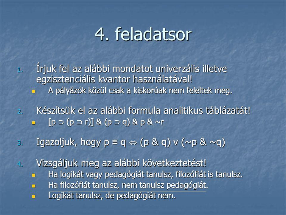 4. feladatsor 1. Írjuk fel az alábbi mondatot univerzális illetve egzisztenciális kvantor használatával!  A pályázók közül csak a kiskorúak nem felel