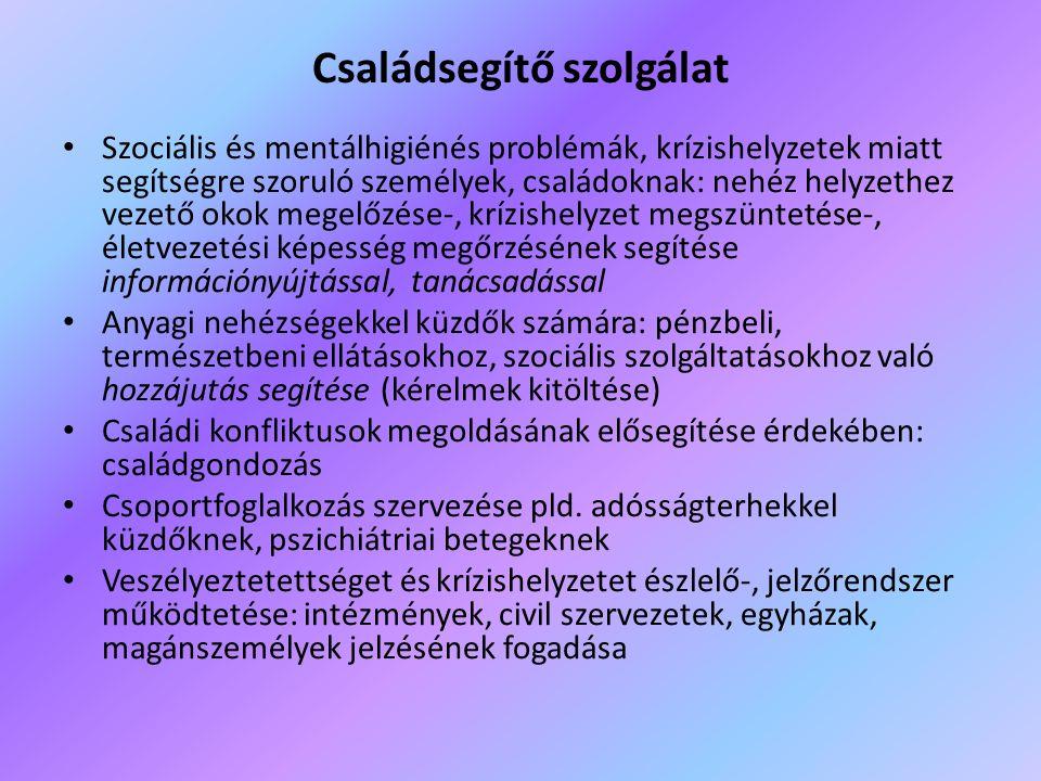 Családsegítő szolgálat • Szociális és mentálhigiénés problémák, krízishelyzetek miatt segítségre szoruló személyek, családoknak: nehéz helyzethez veze