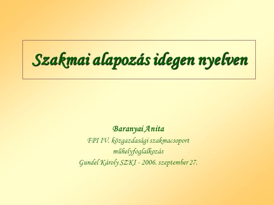 Szakmai alapozás idegen nyelven Baranyai Anita FPI IV. közgazdasági szakmacsoport műhelyfoglalkozás Gundel Károly SZKI - 2006. szeptember 27.