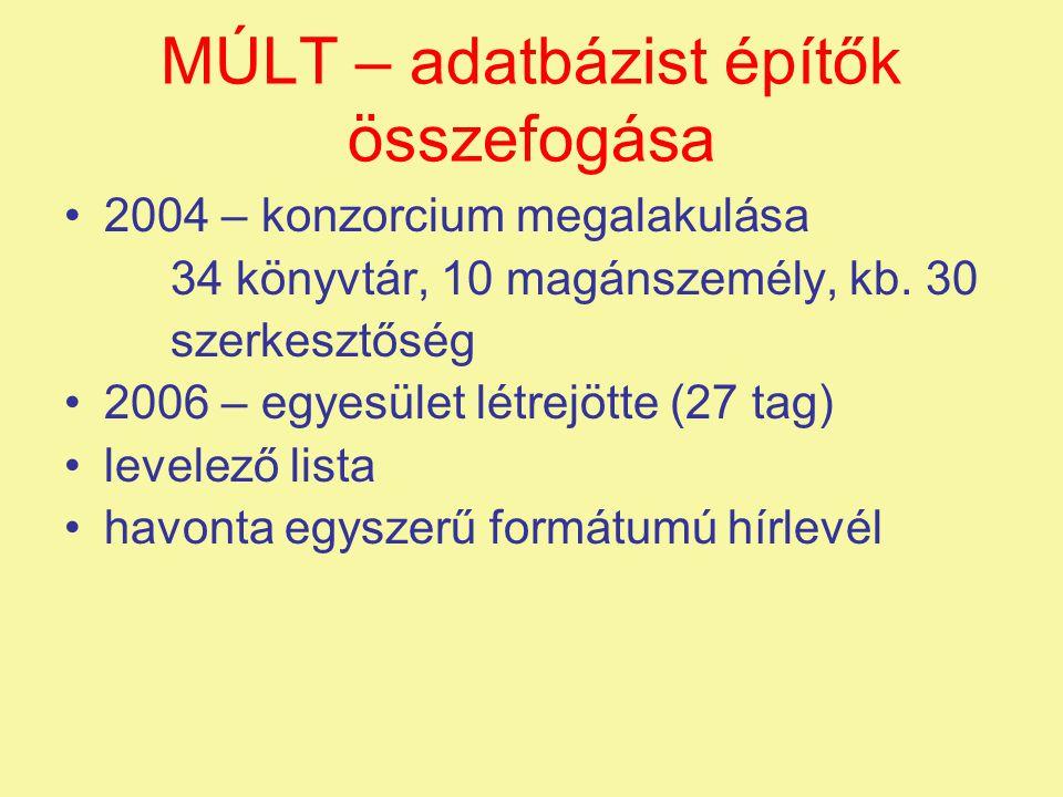 MÚLT – adatbázist építők összefogása •2004 – konzorcium megalakulása 34 könyvtár, 10 magánszemély, kb. 30 szerkesztőség •2006 – egyesület létrejötte (