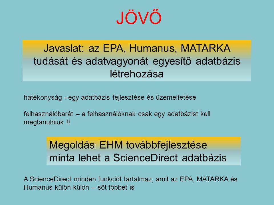 JÖVŐ Javaslat: az EPA, Humanus, MATARKA tudását és adatvagyonát egyesítő adatbázis létrehozása hatékonyság –egy adatbázis fejlesztése és üzemeltetése