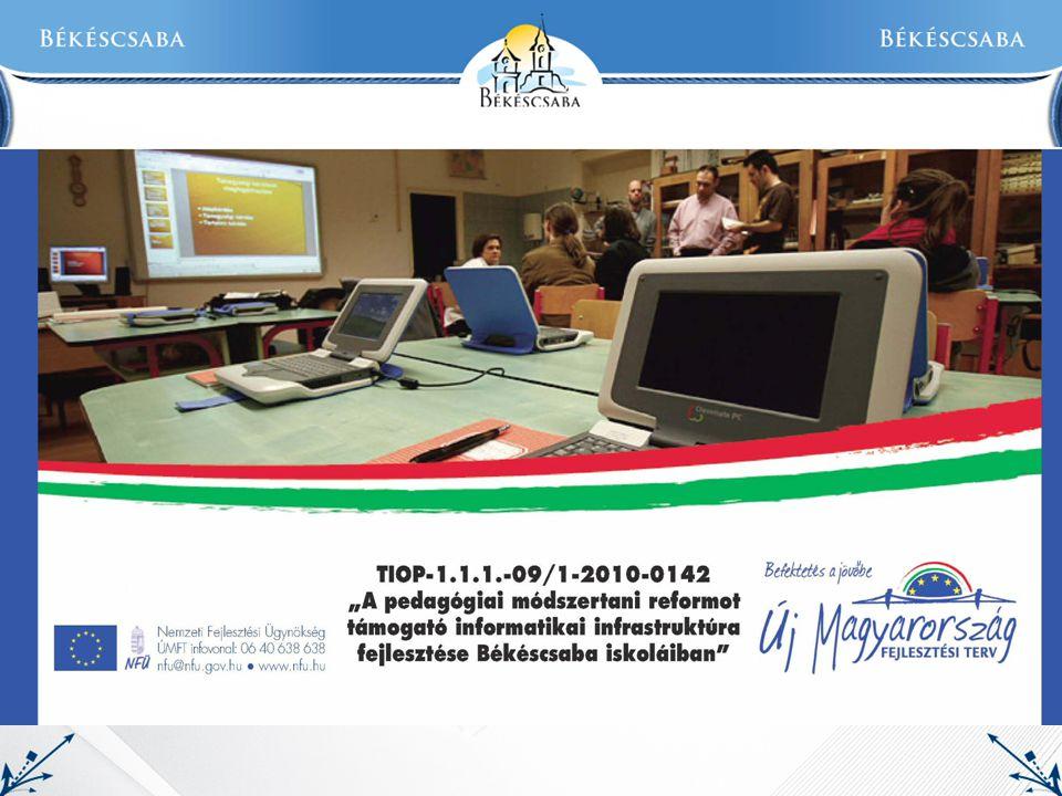 """Pályázati adatok: Projekt címe: """" A pedagógiai módszertani reformot támogató informatikai infrastruktúra fejlesztése Békéscsaba iskoláiban Azonosító: TIOP-1.1.1-09/1-2010-0142 Kedvezményezett: Békéscsaba Megyei Jogú Város Önkormányzata Beruházási helyek:  2."""