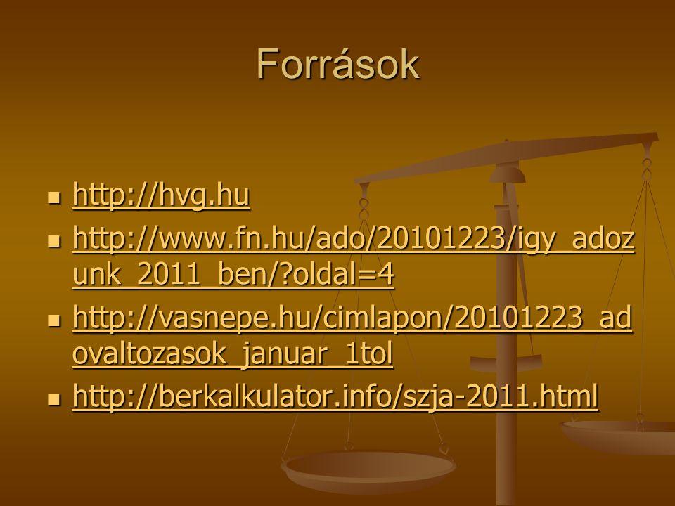 Források  http://hvg.hu http://hvg.hu  http://www.fn.hu/ado/20101223/igy_adoz unk_2011_ben/?oldal=4 http://www.fn.hu/ado/20101223/igy_adoz unk_2011_