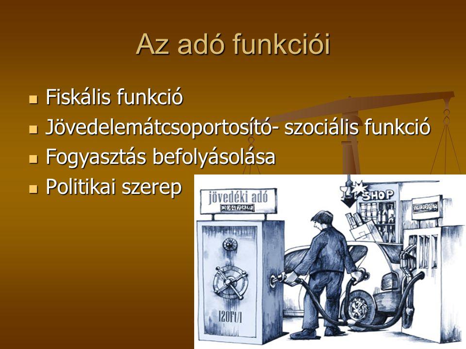 Az adó funkciói  Fiskális funkció  Jövedelemátcsoportosító- szociális funkció  Fogyasztás befolyásolása  Politikai szerep