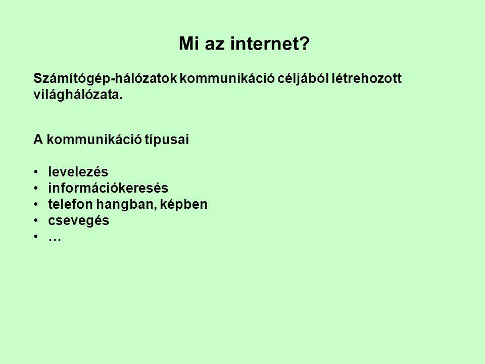 Mi az internet. Számítógép-hálózatok kommunikáció céljából létrehozott világhálózata.