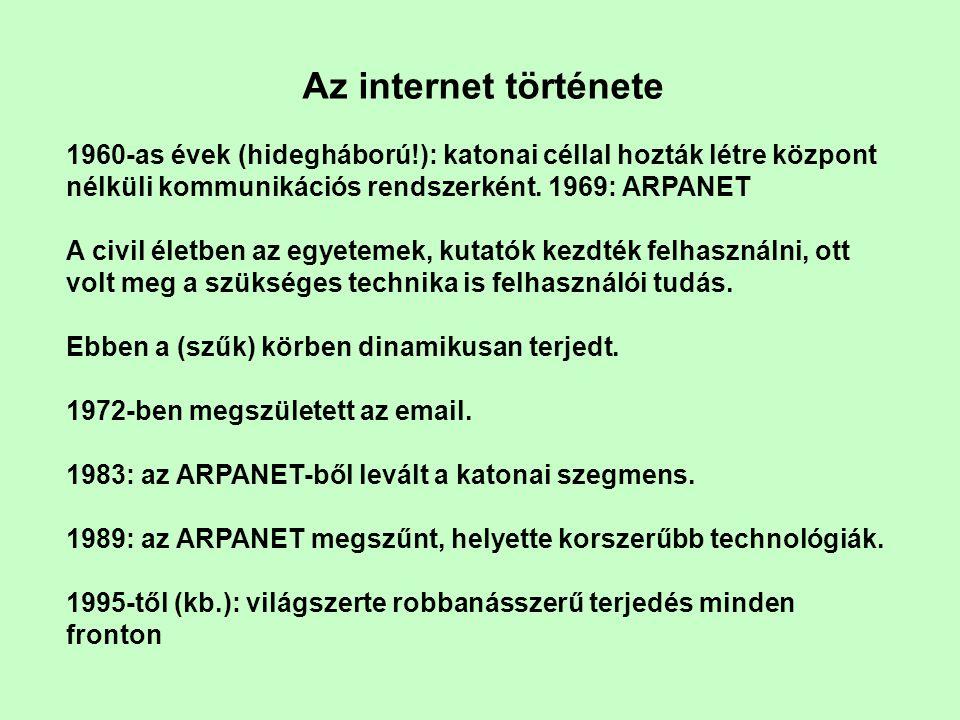 Az internet története 1960-as évek (hidegháború!): katonai céllal hozták létre központ nélküli kommunikációs rendszerként.