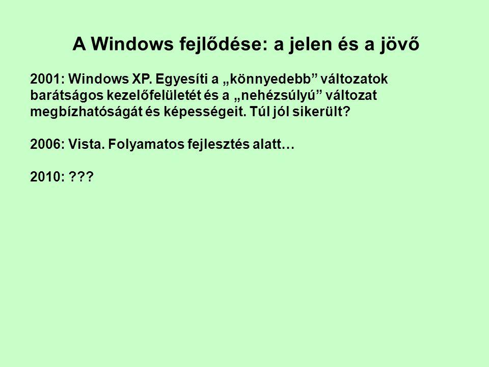 A Windows fejlődése: a jelen és a jövő 2001: Windows XP.
