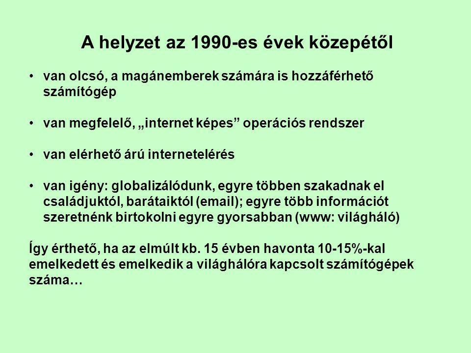 """A helyzet az 1990-es évek közepétől •van olcsó, a magánemberek számára is hozzáférhető számítógép •van megfelelő, """"internet képes operációs rendszer •van elérhető árú internetelérés •van igény: globalizálódunk, egyre többen szakadnak el családjuktól, barátaiktól (email); egyre több információt szeretnénk birtokolni egyre gyorsabban (www: világháló) Így érthető, ha az elmúlt kb."""