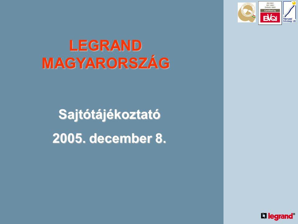 LEGRAND MAGYARORSZÁG STRATÉGIAI CÉLOK •Vezető szerep a villamos szerelvény magyarországi piacán és kihívó az erősáramú rendszerek és a strukturált kábelezés (LCS) területén.