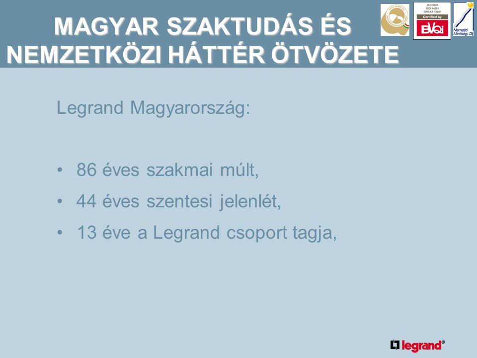 MAGYAR SZAKTUDÁS ÉS NEMZETKÖZI HÁTTÉR ÖTVÖZETE Legrand Magyarország: •86 éves szakmai múlt, •44 éves szentesi jelenlét, •13 éve a Legrand csoport tagja,