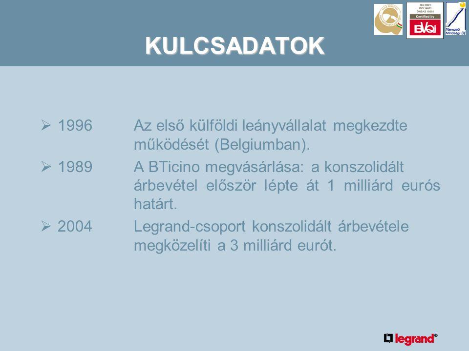 KULCSADATOK  1996Az első külföldi leányvállalat megkezdte működését (Belgiumban).
