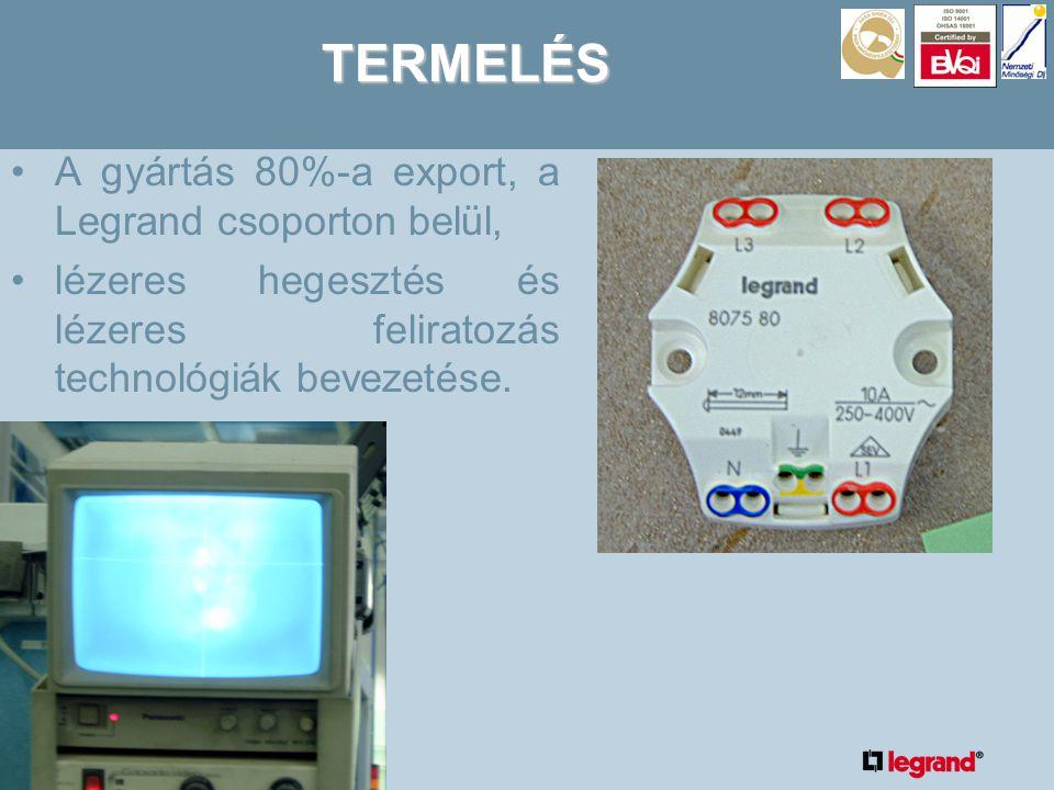 TERMELÉS •A gyártás 80%-a export, a Legrand csoporton belül, •lézeres hegesztés és lézeres feliratozás technológiák bevezetése.