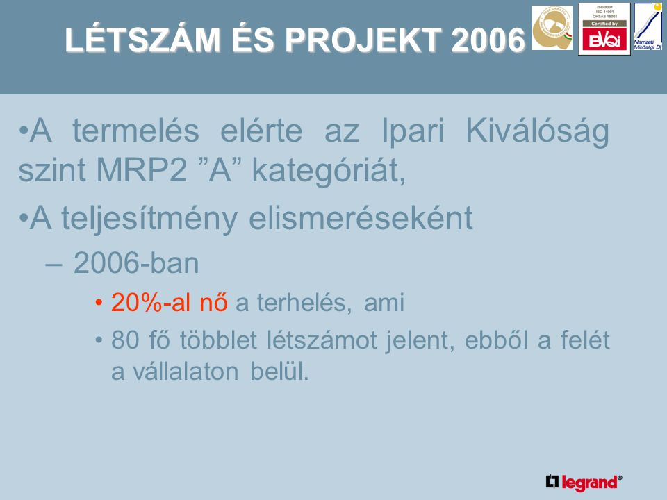 LÉTSZÁM ÉS PROJEKT 2006 •A termelés elérte az Ipari Kiválóság szint MRP2 A kategóriát, •A teljesítmény elismeréseként –2006-ban •20%-al nő a terhelés, ami •80 fő többlet létszámot jelent, ebből a felét a vállalaton belül.