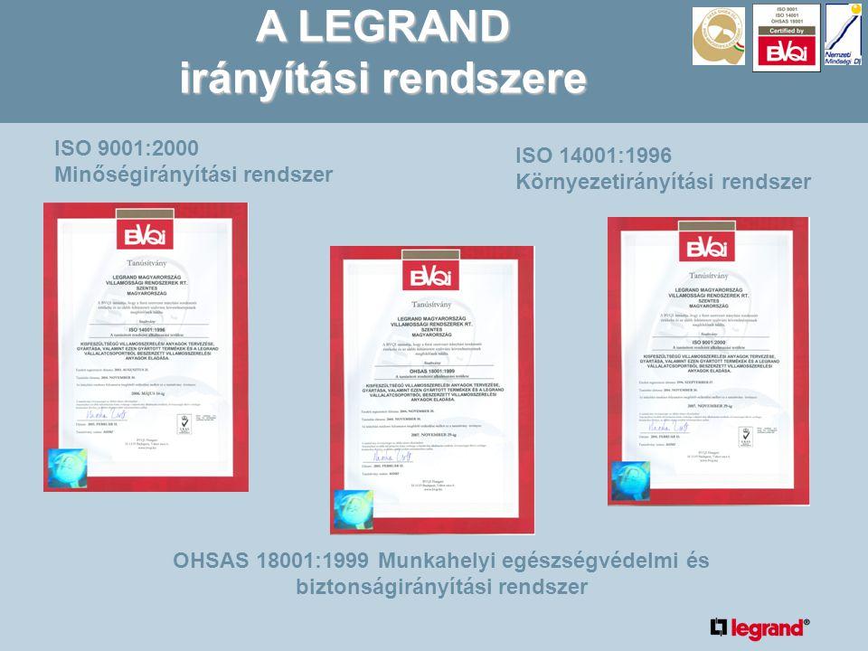 ISO 9001:2000 Minőségirányítási rendszer ISO 14001:1996 Környezetirányítási rendszer OHSAS 18001:1999 Munkahelyi egészségvédelmi és biztonságirányítási rendszer A LEGRAND irányítási rendszere