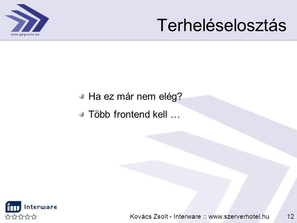 Kovács Zsolt - Interware :: www.szerverhotel.hu12 Terheléselosztás Ha ez már nem elég? Több frontend kell …