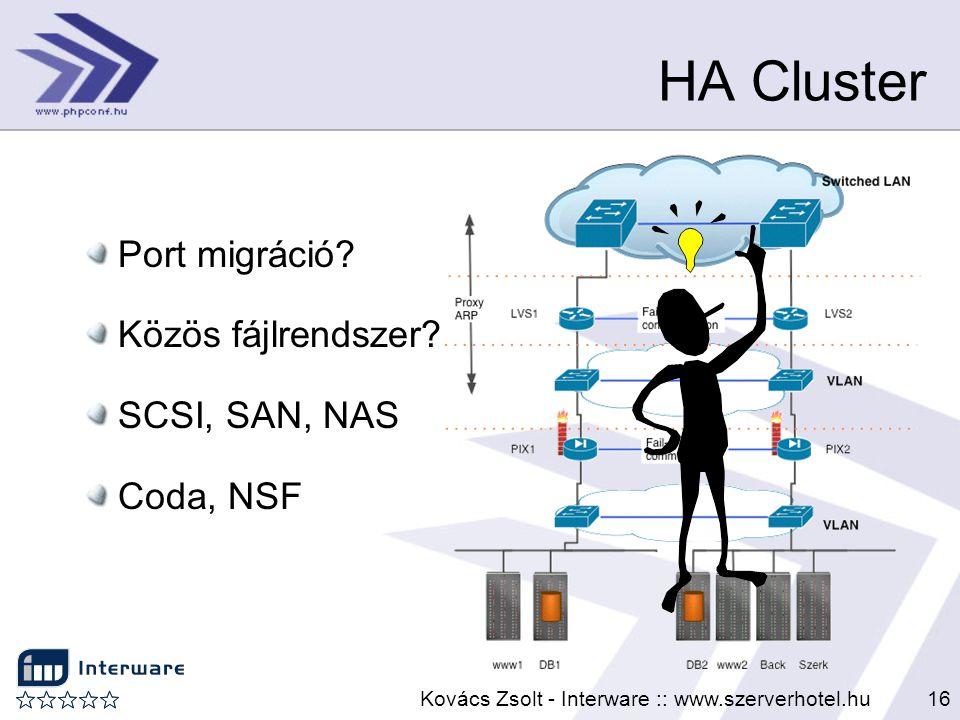 Kovács Zsolt - Interware :: www.szerverhotel.hu16 HA Cluster Port migráció? Közös fájlrendszer? SCSI, SAN, NAS Coda, NSF