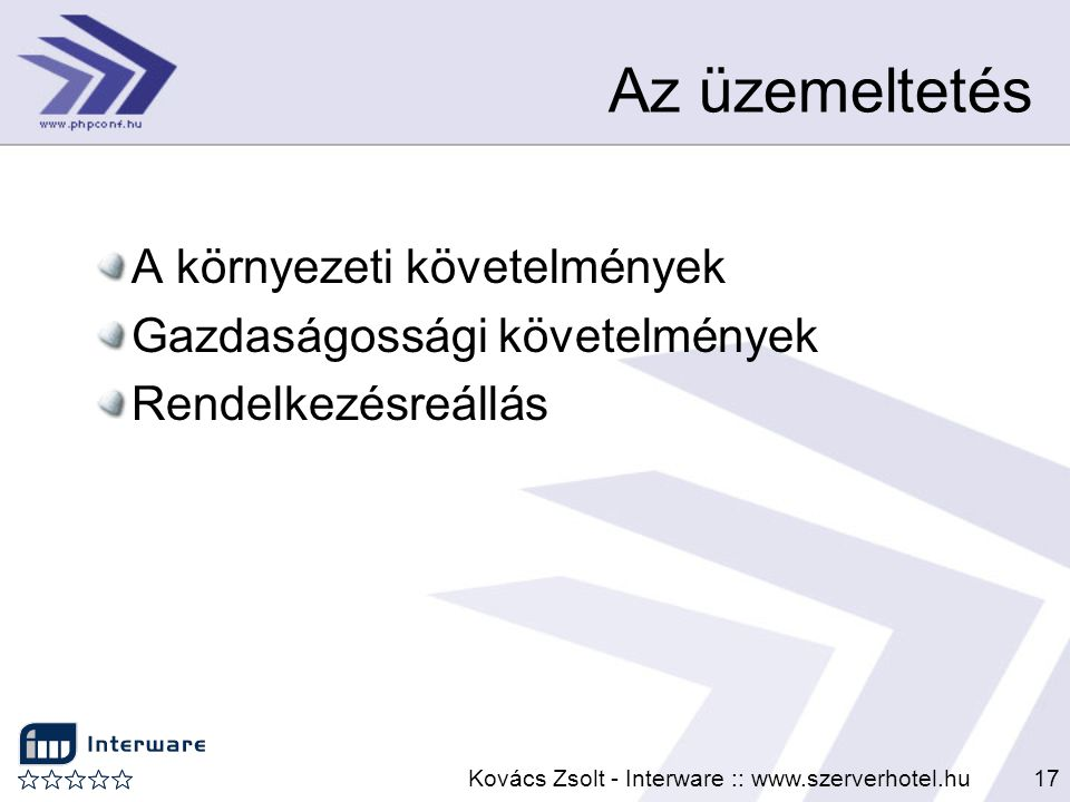 Kovács Zsolt - Interware :: www.szerverhotel.hu17 Az üzemeltetés A környezeti követelmények Gazdaságossági követelmények Rendelkezésreállás