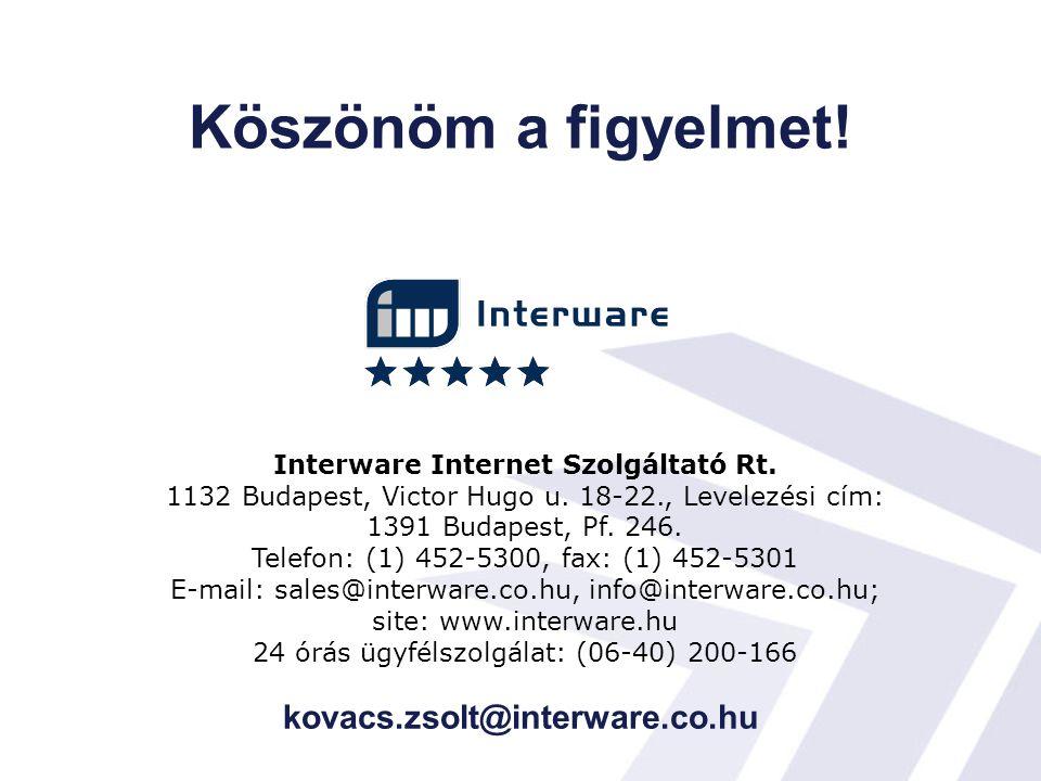 Köszönöm a figyelmet! kovacs.zsolt@interware.co.hu Interware Internet Szolgáltató Rt. 1132 Budapest, Victor Hugo u. 18-22., Levelezési cím: 1391 Budap