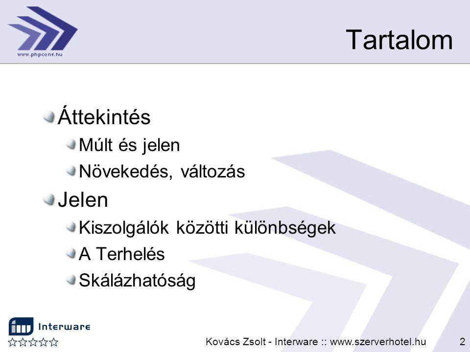 Kovács Zsolt - Interware :: www.szerverhotel.hu2 Tartalom Áttekintés Múlt és jelen Növekedés, változás Jelen Kiszolgálók közötti különbségek A Terhelé