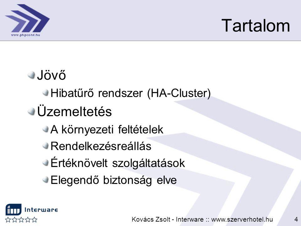 Kovács Zsolt - Interware :: www.szerverhotel.hu4 Tartalom Jövő Hibatűrő rendszer (HA-Cluster) Üzemeltetés A környezeti feltételek Rendelkezésreállás É