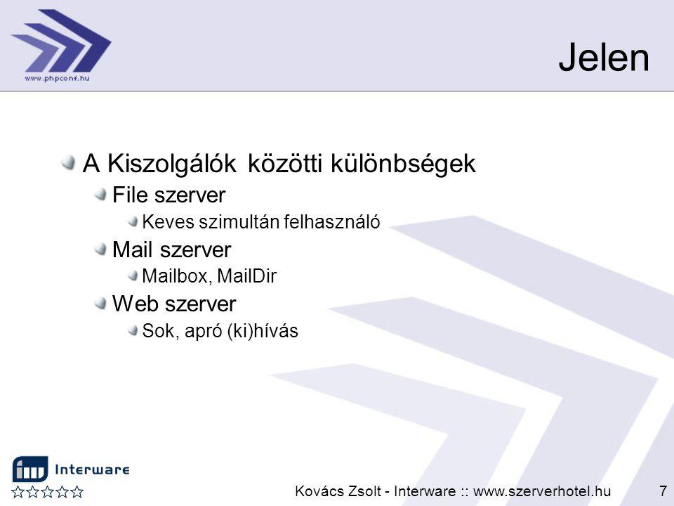 Kovács Zsolt - Interware :: www.szerverhotel.hu7 Jelen A Kiszolgálók közötti különbségek File szerver Keves szimultán felhasználó Mail szerver Mailbox