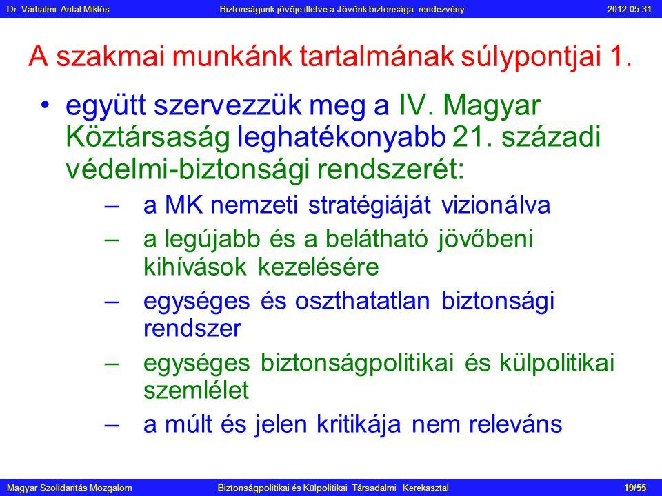 A szakmai munkánk tartalmának súlypontjai 1. •együtt szervezzük meg a IV. Magyar Köztársaság leghatékonyabb 21. századi védelmi-biztonsági rendszerét: