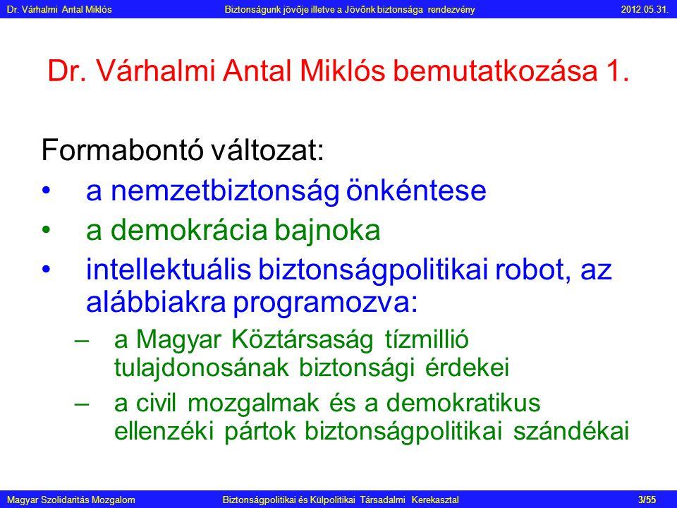 Dr. Várhalmi Antal Miklós bemutatkozása 1. Formabontó változat: •a nemzetbiztonság önkéntese •a demokrácia bajnoka •intellektuális biztonságpolitikai