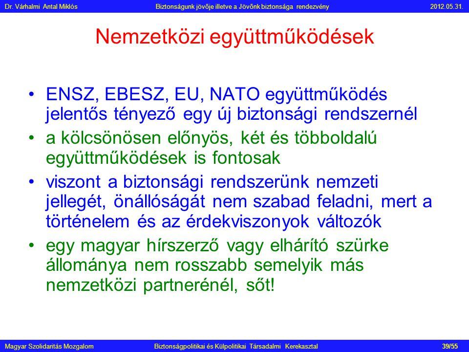 Nemzetközi együttműködések •ENSZ, EBESZ, EU, NATO együttműködés jelentős tényező egy új biztonsági rendszernél •a kölcsönösen előnyös, két és többolda