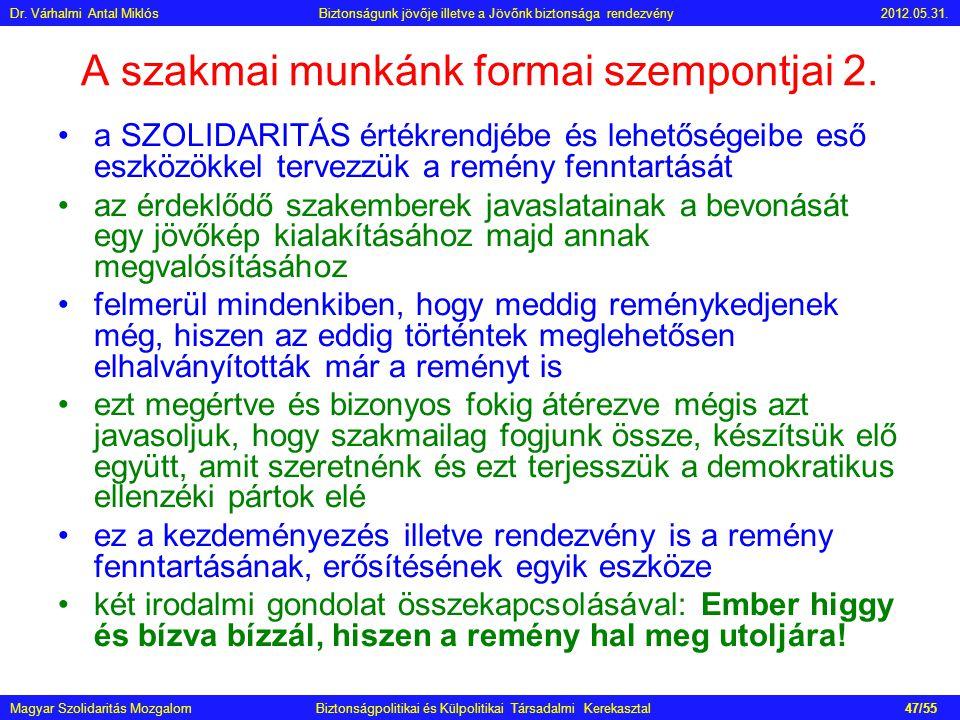 Magyar Szolidaritás Mozgalom Biztonságpolitikai és Külpolitikai Társadalmi Kerekasztal A szakmai munkánk formai szempontjai 2. •a SZOLIDARITÁS értékre