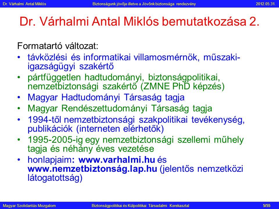 Dr. Várhalmi Antal Miklós bemutatkozása 2. Formatartó változat: •távközlési és informatikai villamosmérnök, műszaki- igazságügyi szakértő •pártfüggetl