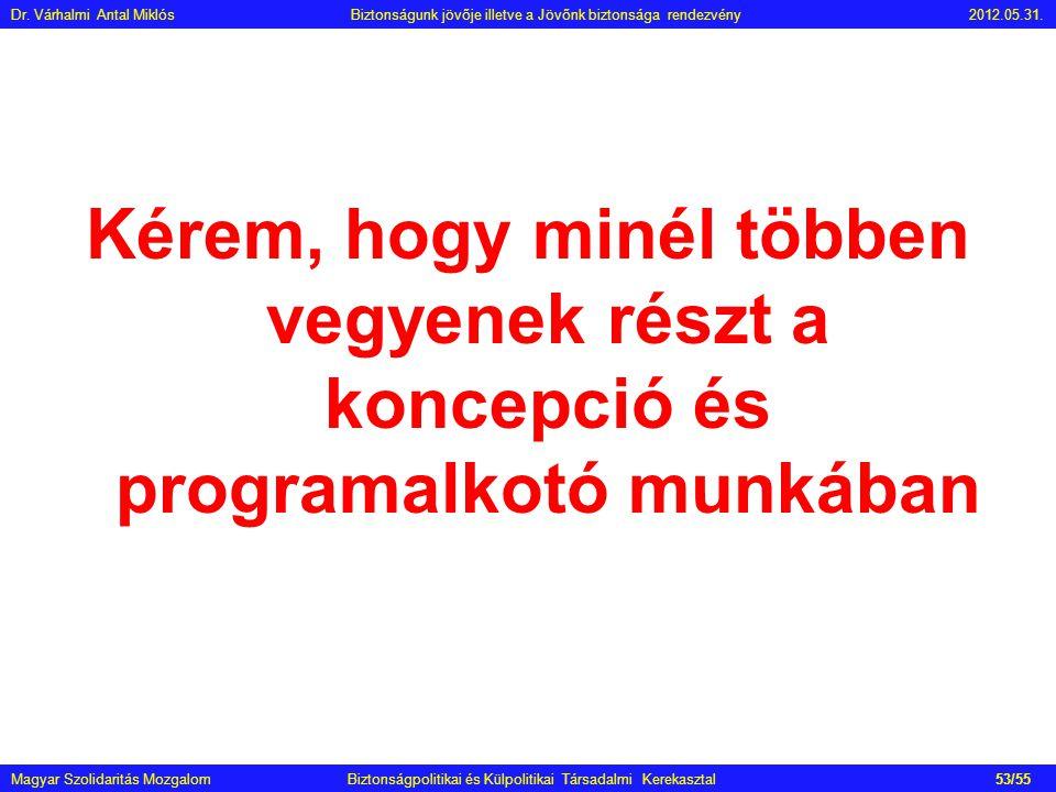 Kérem, hogy minél többen vegyenek részt a koncepció és programalkotó munkában Magyar Szolidaritás Mozgalom Biztonságpolitikai és Külpolitikai Társadal