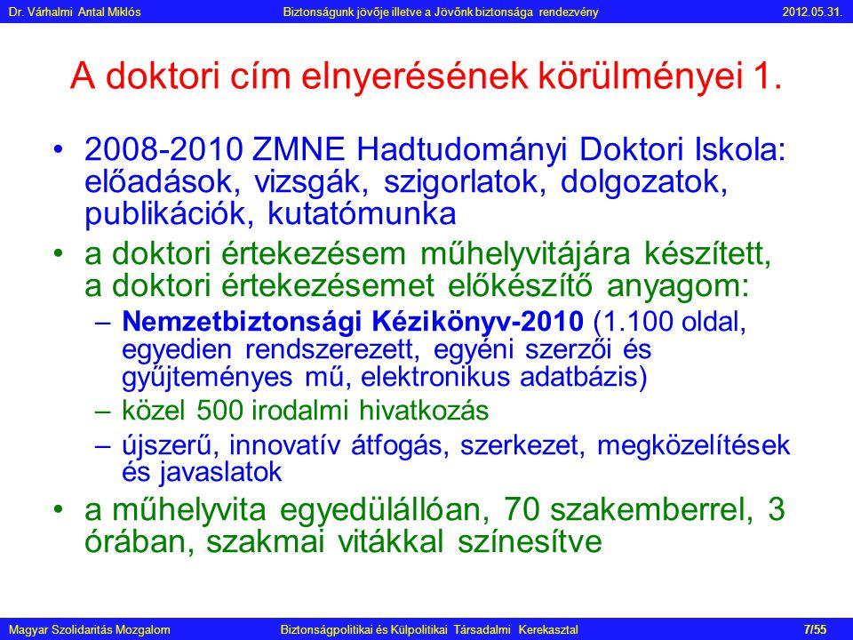 A doktori cím elnyerésének körülményei 1. •2008-2010 ZMNE Hadtudományi Doktori Iskola: előadások, vizsgák, szigorlatok, dolgozatok, publikációk, kutat