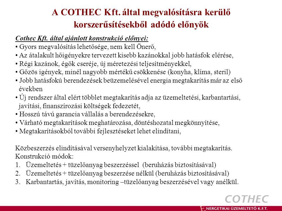 A COTHEC Kft.által megvalósításra kerülő korszerűsítésekből adódó előnyök Cothec Kft.