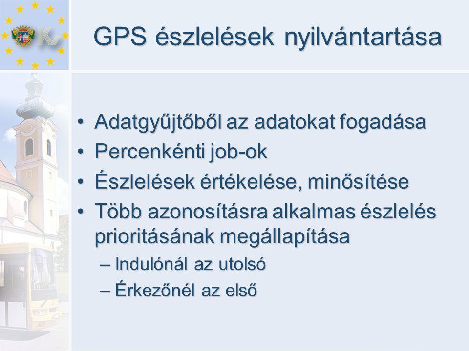 GPS észlelések nyilvántartása •Adatgyűjtőből az adatokat fogadása •Percenkénti job-ok •Észlelések értékelése, minősítése •Több azonosításra alkalmas é