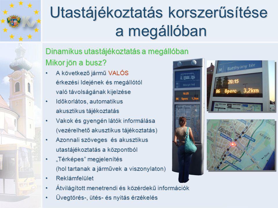 Utastájékoztatás korszerűsítése a megállóban Dinamikus utastájékoztatás a megállóban Mikor jön a busz? •A következő jármű VALÓS érkezési Idejének és m