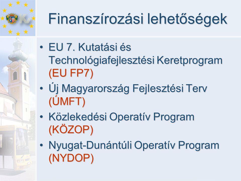 Finanszírozási lehetőségek •EU 7. Kutatási és Technológiafejlesztési Keretprogram (EU FP7) •Új Magyarország Fejlesztési Terv (ÚMFT) •Közlekedési Opera