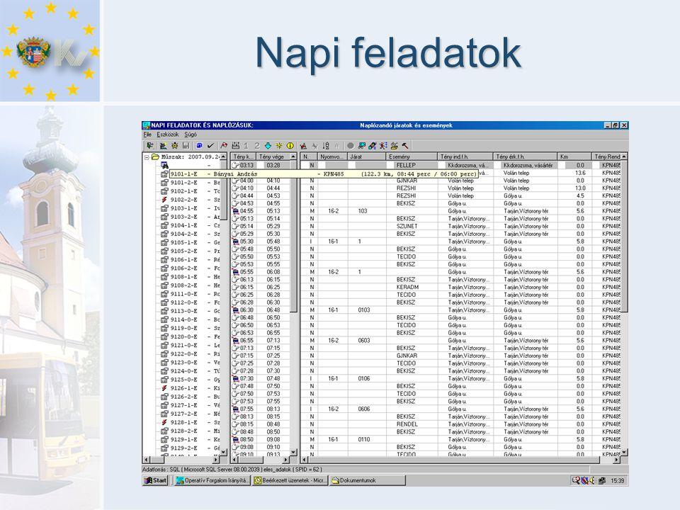 A diszpécser munkájának segítése Térképes megjelenítés •Az autóbuszok helyzetének és adatainak megjelenítése elektronikus térképen •Személyre szabott megjelenítési sémák •Gyorskeresés •Útvonal és megálló megjelenítés •Kiválasztott jármű forgalmi és műszaki adatainak megjelenítése Vonalas megjelenítés •Azonos vonalon közlekedő járművek megjelenítése •Késés sietés kijelzése eltérő színekkel (menetrendhez és induláshoz képest) •Forda vagy forgalmi szám megjelenítése •Menetrendi sor azonosítása