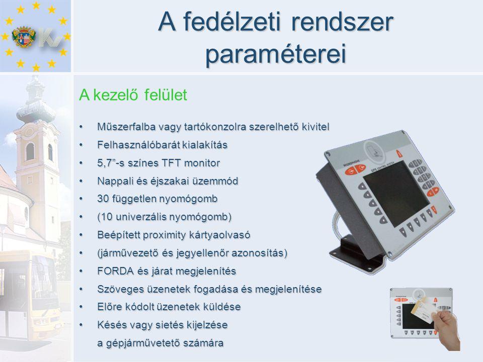 A fedélzeti rendszer paraméterei •Műszerfalba vagy tartókonzolra szerelhető kivitel •Felhasználóbarát kialakítás •5,7 -s színes TFT monitor •Nappali és éjszakai üzemmód •30 független nyomógomb •(10 univerzális nyomógomb) •Beépített proximity kártyaolvasó •(járművezető és jegyellenőr azonosítás) •FORDA és járat megjelenítés •Szöveges üzenetek fogadása és megjelenítése •Előre kódolt üzenetek küldése •Késés vagy sietés kijelzése a gépjárművetető számára A kezelő felület