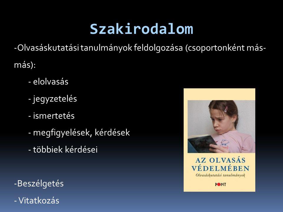 Szakirodalom -Olvasáskutatási tanulmányok feldolgozása (csoportonként más- más): - elolvasás - jegyzetelés - ismertetés - megfigyelések, kérdések - többiek kérdései -Beszélgetés - Vitatkozás
